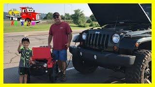 Kruz JUMPSTART The Jeep Wrangler Rubicon With His Powered Ride On Jeep Wrangler on KV Show