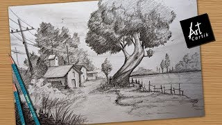 How to Draw and Shade Village Landscape with Easy Pencil Stokes | Drawing Tutorial