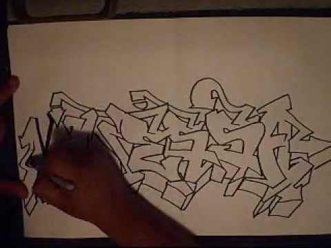 how to draw graffiti (VANNESA).flv - YouTube