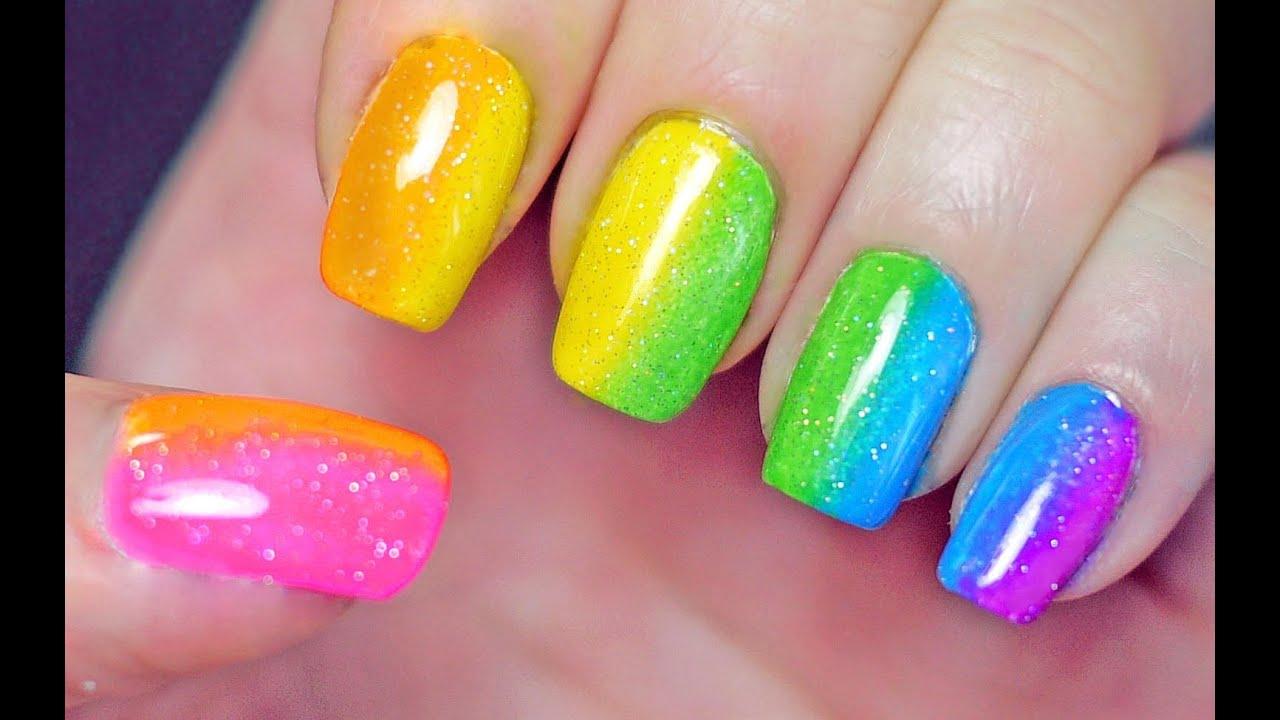 rainbow nails sponge gradient