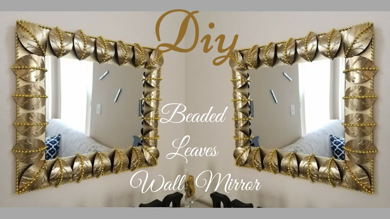 Diy Metallic Gold Wall Decor Beaded Leaf Mirror Design