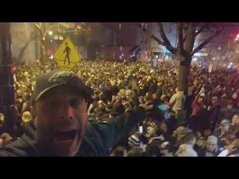 Philadelphia Eagles Fans celebrating after Super Bowl Victory