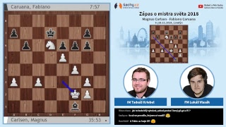 FIDE 2018 World Chess Championship - přímý přenos 7. partie, komentují Tadeáš Kriebel a Lukáš Vlasák