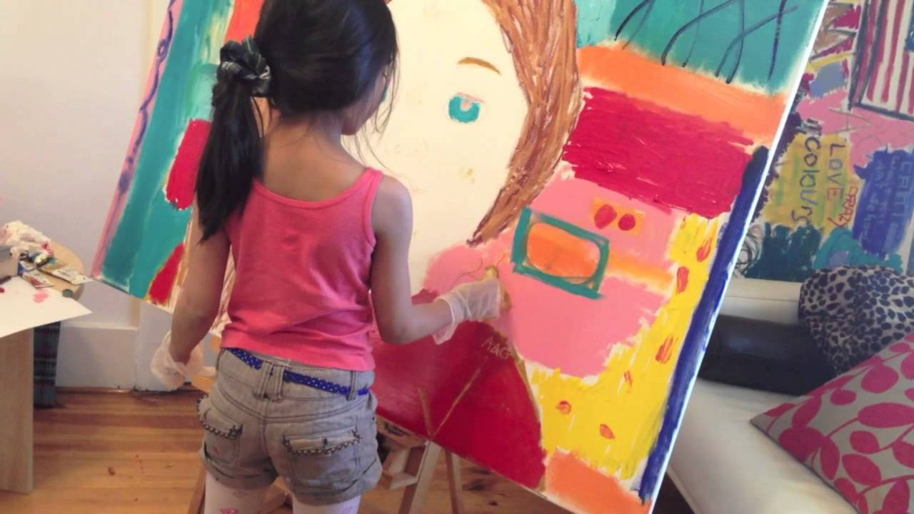 7 year old pop art painting american girl doll saige youtube. Black Bedroom Furniture Sets. Home Design Ideas