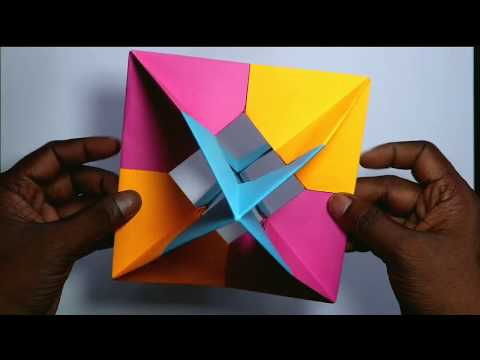 how to make 3D geometric origami /paper origami/paper craft | rainbow art | paper cutting art