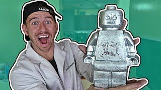 DIY GIANT METAL GALLIUM LEGO FIGURE EXPERIMENT!! (100+ LBS WORLD RECORD!!)