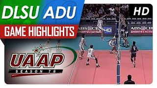 UAAP 78 MV: DLSU vs AdU Game Highlights