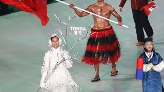 Tonga Man Pita Taufatofua w arms up winter Olympics opening ceremony by going topless and
