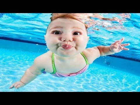 Babası Bebeğini Suya Attı!. (yüzme öğrenen Sevimli Bebek)