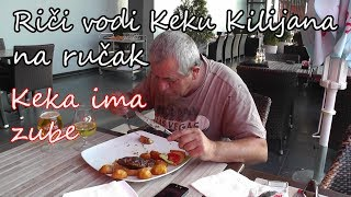 Rici i Keka Kilijan na rucku - Keka ima zube - prvo jelo sa zubima