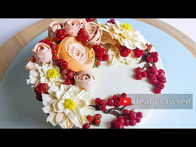 Beautiful Bouquets 5/5: red berry buttercream flower wreath cake tutorial - relaxing cake decorating