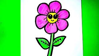 Çok Kolay Sevimli Çiçek Çizimi❤Çiz ve Boya How to Draw Flowers Çocuklar için Eğitici Videolar