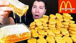 Raw Honeycomb &amp Chicken Nuggets  MUKBANG