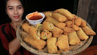 How to make spring rolls with vegetable and tomato sauce recipe