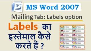 How to Use Labels in MS Word ? लेबल का इस्तेमाल कैसे करते हैं ? Mailings Tab