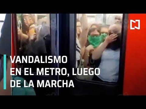 Vandalismo en el Metro luego de la marcha contra la violencia de género - Las Noticias