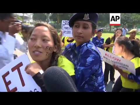 Tibetan protesters and police clash outside China embassy in India