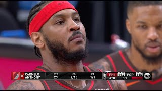 Melo Erupts For 17 PTS In 4Q And Carries Blazers To Win Over 76ers