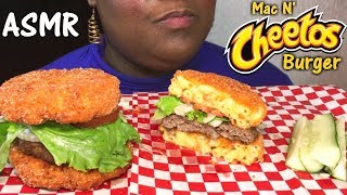 ASMR Mac N' Cheetos Burger 🍔 + Recipe Crunchy/Sticky Eating Sounds 먹방 No Talking