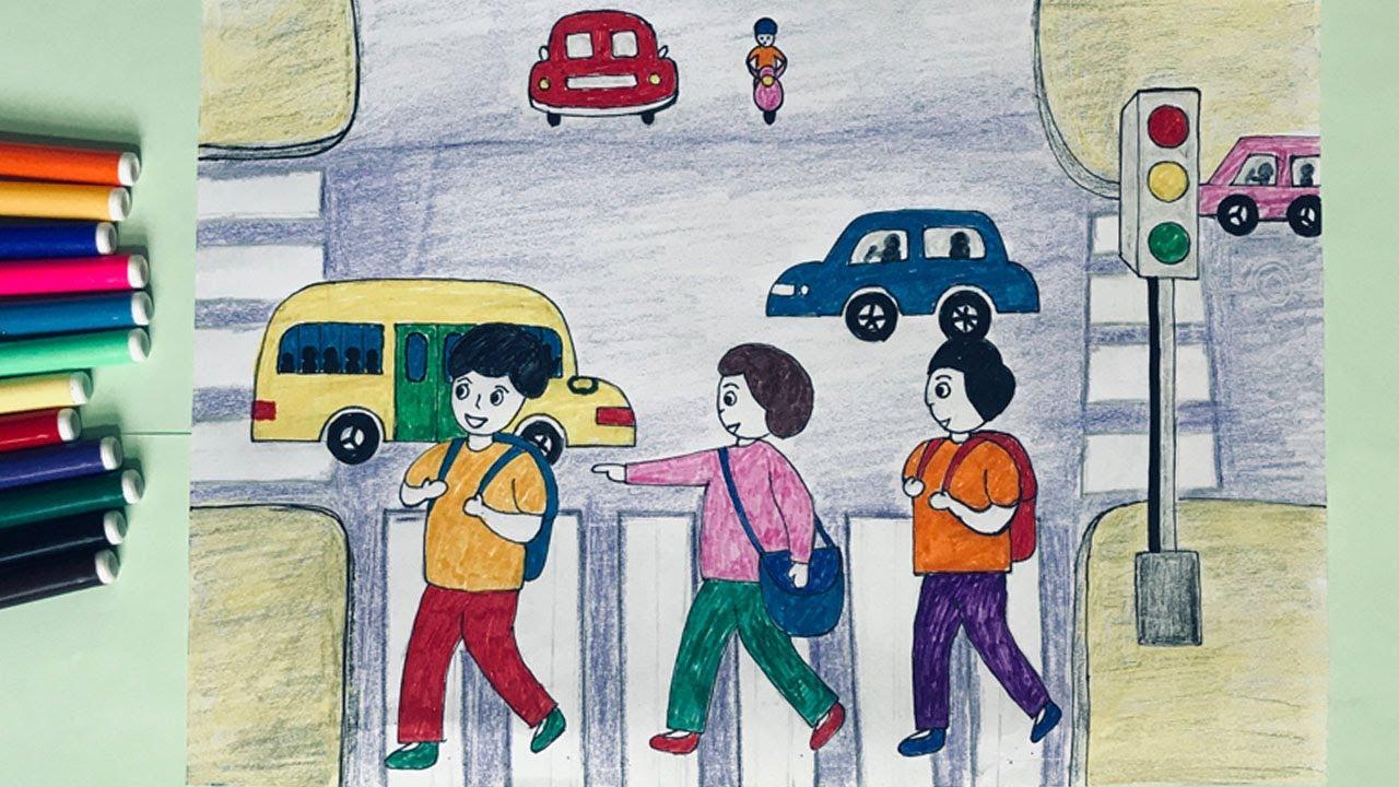 Vẽ tranh đề tài an toàn giao thông | Vẽ tranh về an toàn giao thông | Vẽ an toàn giao thông | Bao quát các kiến thức liên quan tranh vẽ đề tài an toàn giao thông lớp 7 mới cập nhật