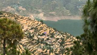 Widespread terrace farming on the slopes around Tehri Dam