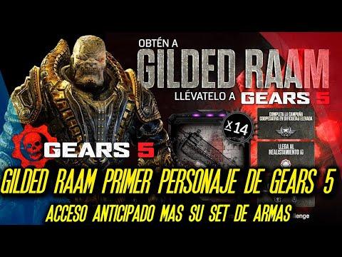 Gilded RAAM Primer Personaje de Gears 5 Acceso Anticipado + Set de 14 Armas Fantasma Negro