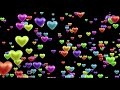 Free Colorful Love Heart Balloons Floating Into the Air in  Black Background
