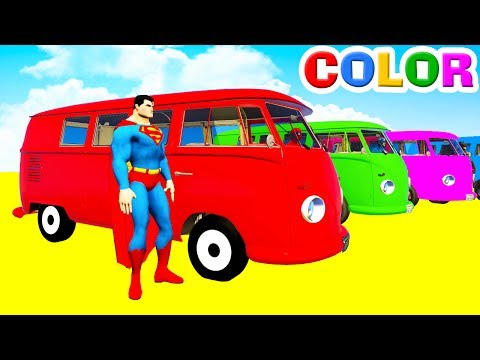 Thumbnail: LEARN COLORS Bus McQueen & Spiderman for Kids - 3D Cars Superheroes for Children