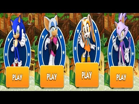 Sonic Dash Android Gameplay - SONIC VS ROUGE VS CREAM VS BLAZE