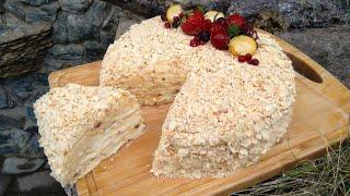 Торт Наполеон на сковороде с заварным кремом Торт Наполеон самый вкусный и нежный