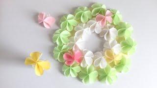 【折り紙・コピー 用紙】簡単!かわいい蝶々と花 (リース)Paper Easy Cute Butterfly and flower(Wreath )