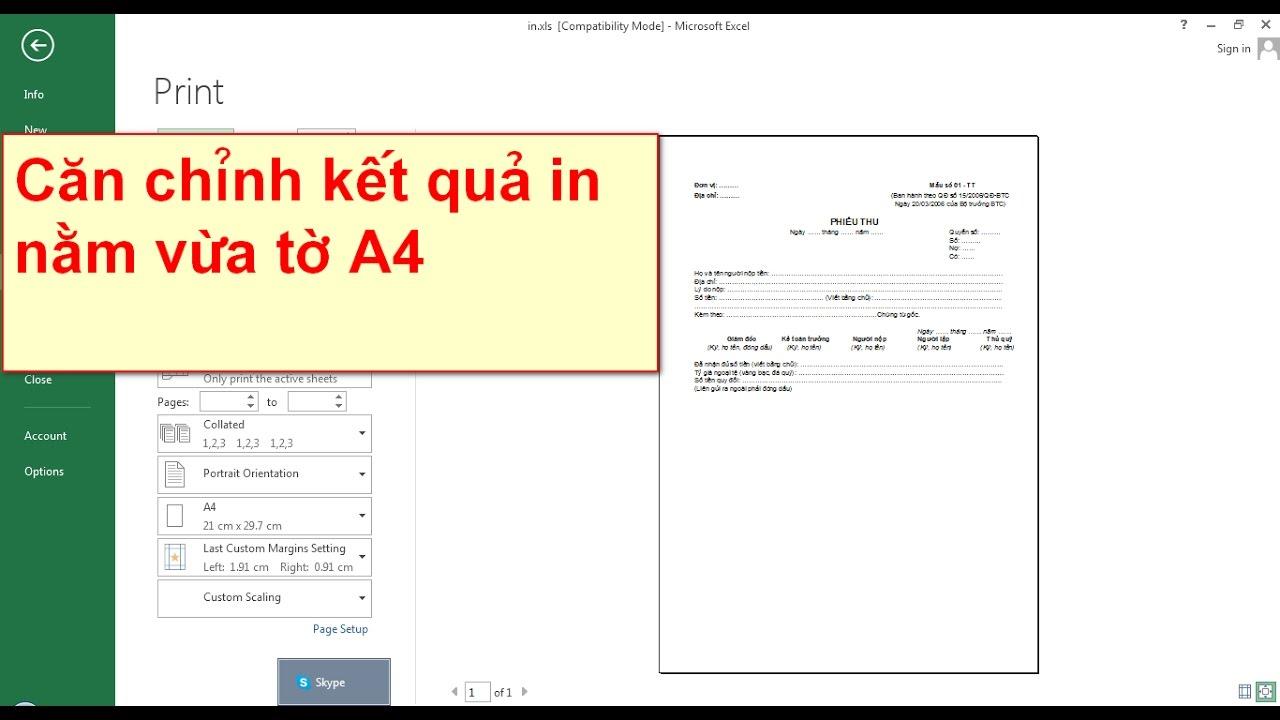 Cách cài đặt in vừa trang giấy – Excel