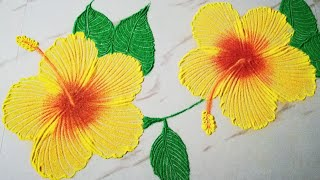 Easy & Beautiful Hibiscus 🌺 Rangoli Design with colours🌺 रंगोली डिज़ाइन 🌺 Rangoli for Diwali 2019