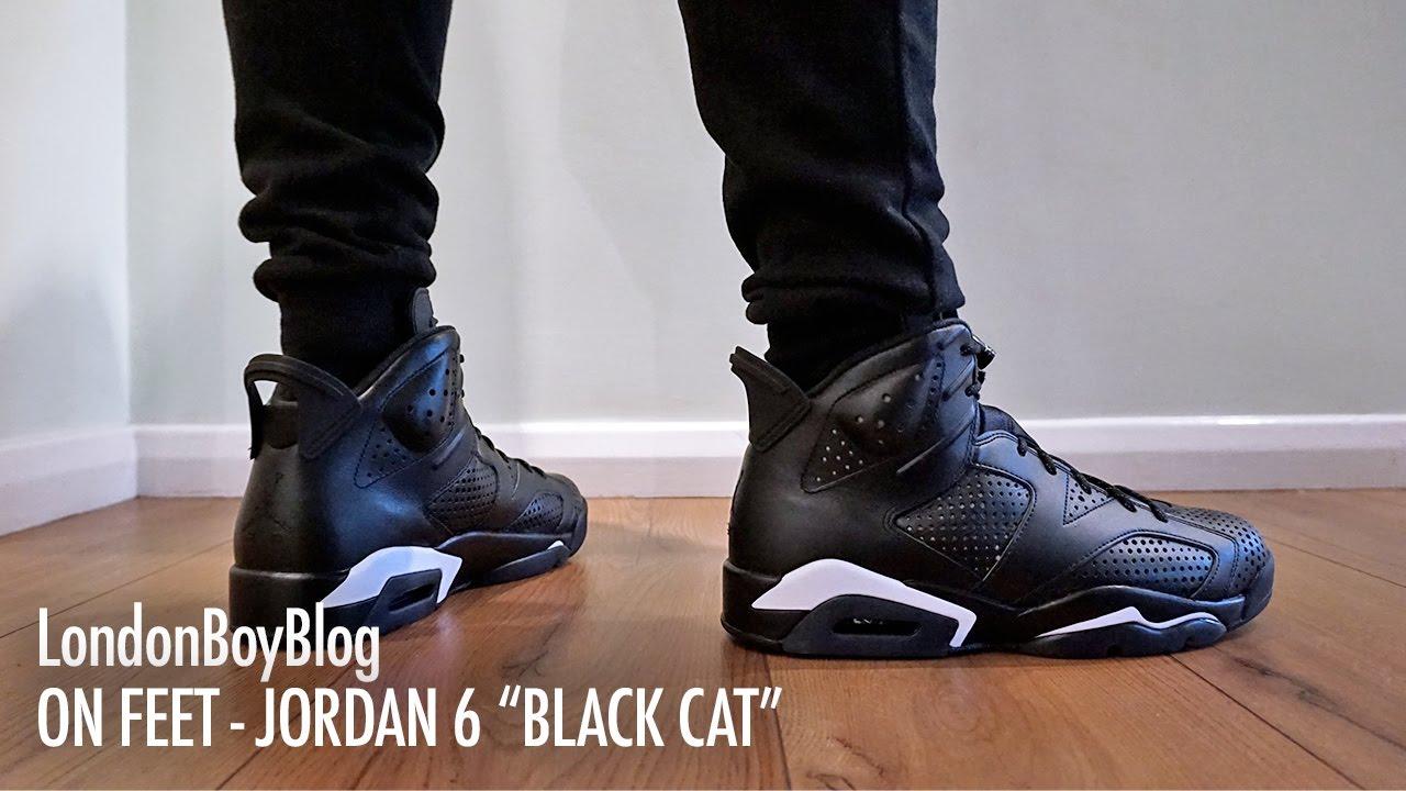 jordan 6 black cat on feet