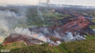 Aerial footage shows extent of sprawling Kilauea lava flow in Hawaii