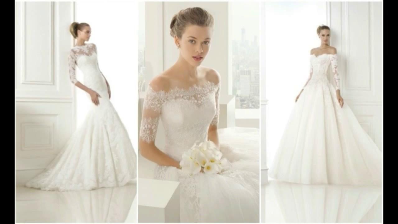 Vestidos de novia sencillos manga tres cuartos