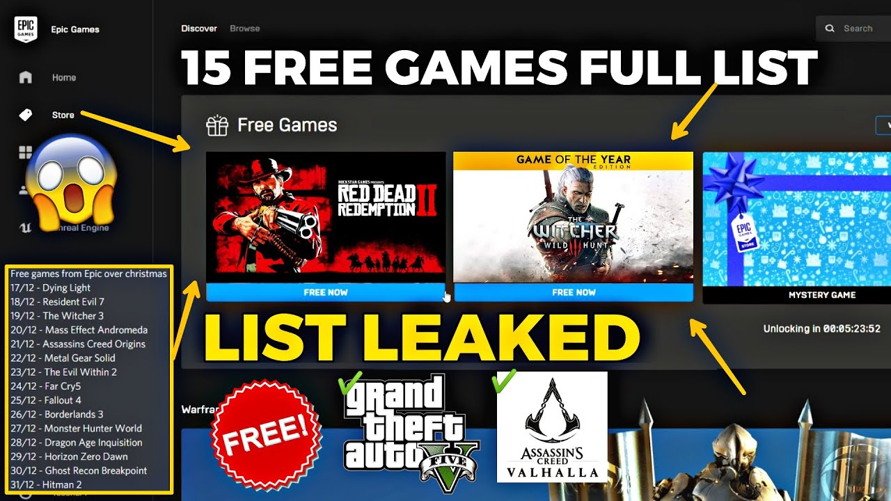Epic Games 15 Free Mystery Games List Leaked 100 Confirmed Youtube