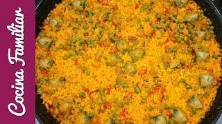 Paella de arroz con magro de cerdo  y verduras de temporada | Receta de Javier Romero