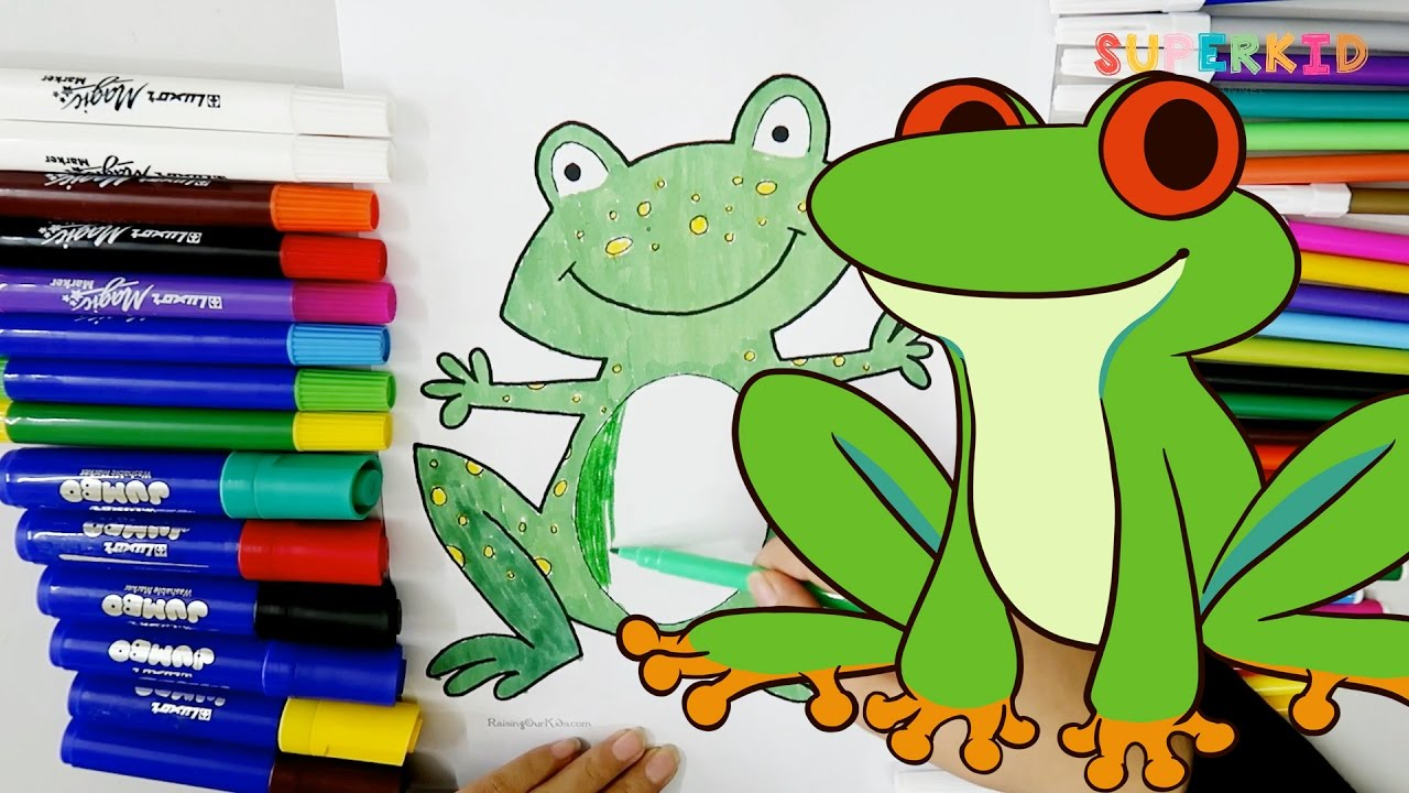 Green Frog Coloring Pages - Funny Colors Learning for Kids and ...