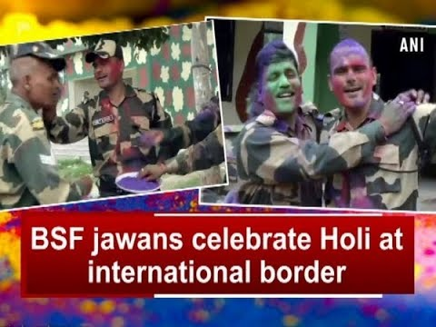 BSF jawans celebrate Holi at international border - Jammu and Kashmir News