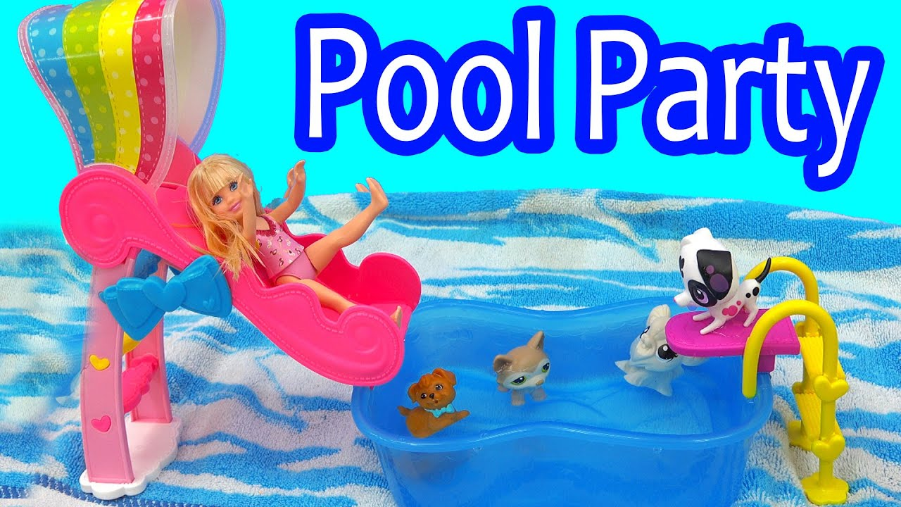 Rainbow Slide Pool Party Barbie Chelsea Water Play Playset Toy Video With Puppy Littlest Pet
