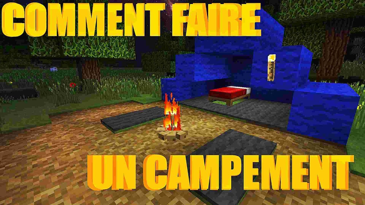 comment faire un campement dans minecraft feu de camp tente sol youtube. Black Bedroom Furniture Sets. Home Design Ideas