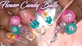 Dual Forms with Acrylic | Flower Candy Balls and Encapsulation Real Flowers | LongHairPrettyNails