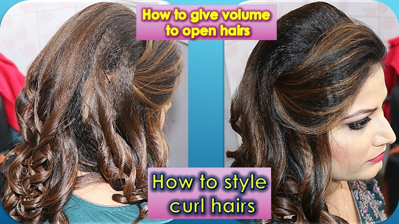 How to style curl hairs.. How to give volume on open hairs , easy DIY  tutorial