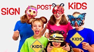 Learn English Words! Boxing Factory and Unboxing Room with Sign Post Kids! Animal Masks!
