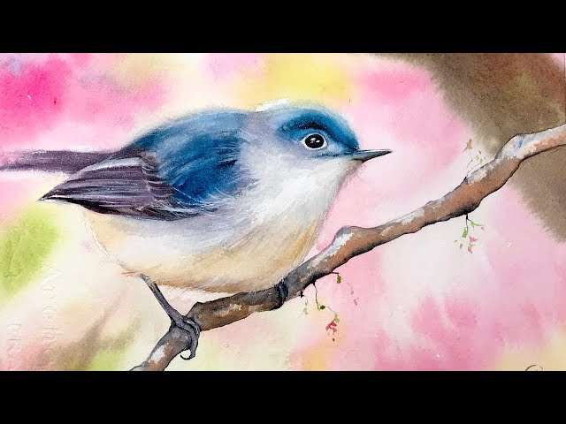 How to Paint a Bird and Cherry Blossom Tree in Watercolors