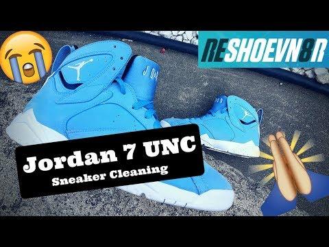 5761ba218b25e0 Jordan 7 UNC  Pantone University Blue Deep Cleaning. Testing Reshoenv8r