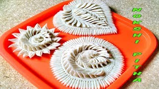 Nokshi pitha design | How To Make Nokshi Pitha। phool Pitha । Rice cake Design(part2)_FOOD BUZZ