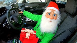 Santa Claus Surprises Parents With Christmas Presents Santa Driving In My Car