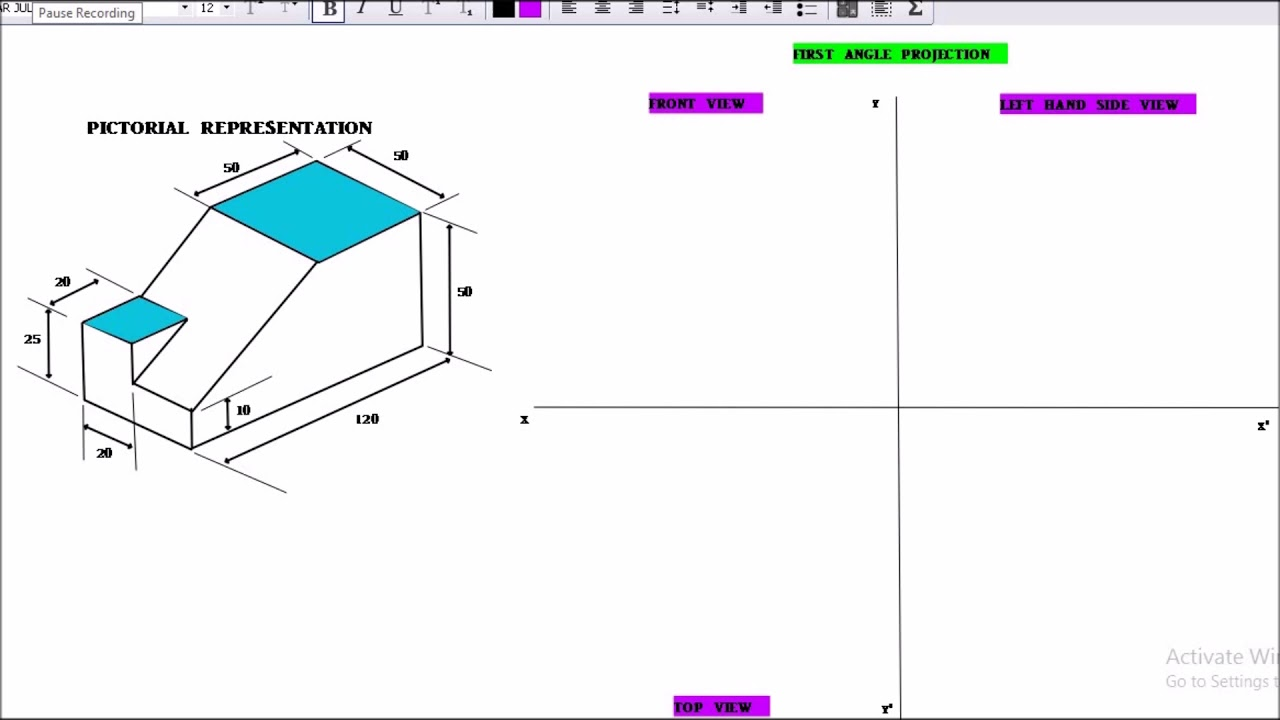 Orthographic projection problem -6/first angle projection  [hindi/urdu]/sorry for late upload